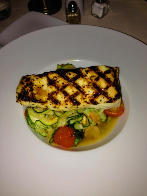 Grilled Halibut with Zucchini Ribbons and Cherry Tomatoes