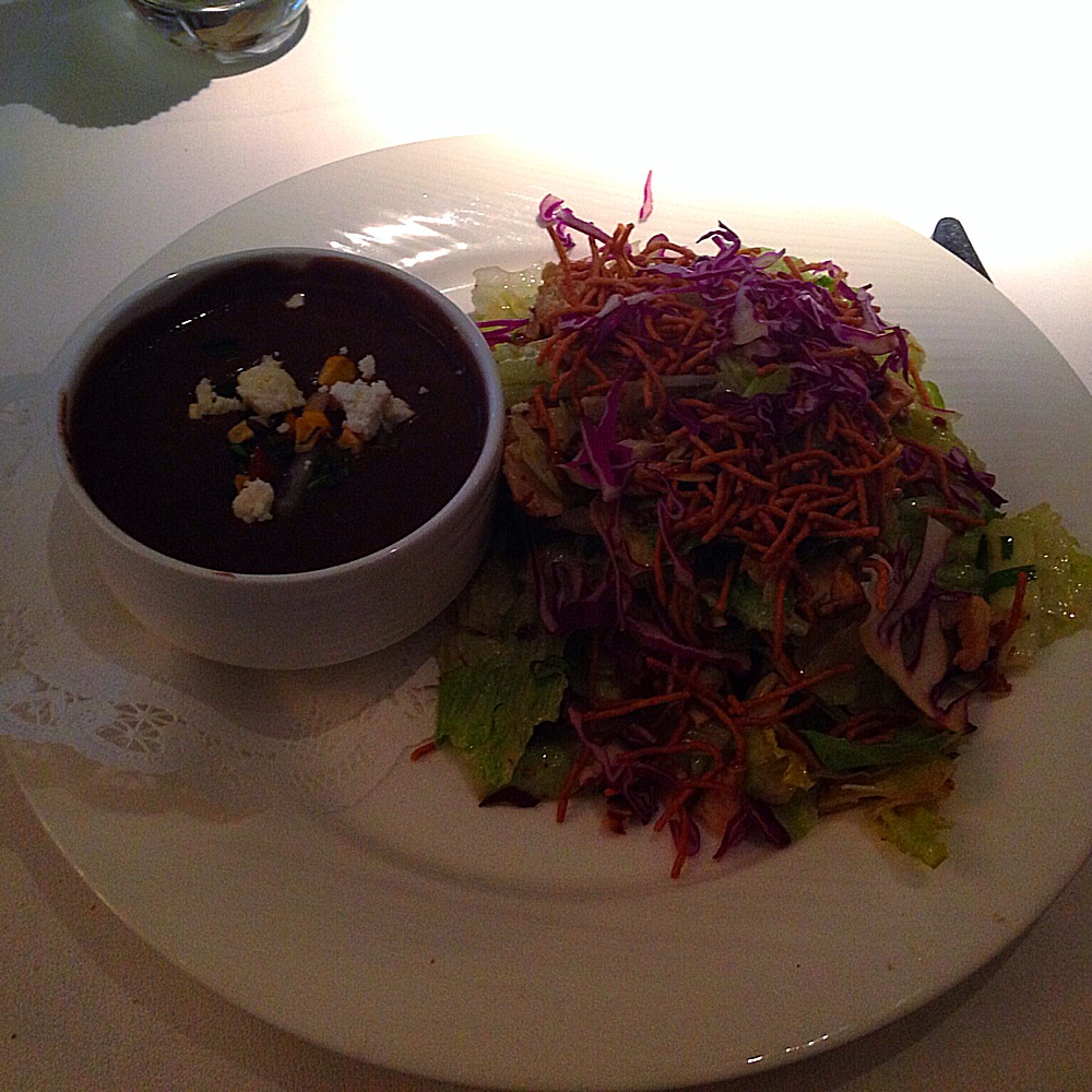 dark photo-but black bean soup and chicken salad