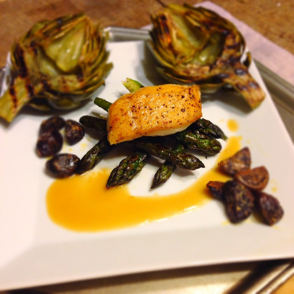 Final Product--Halibut over grilled asparagus with roasted purple potatoes and grilled artichokes